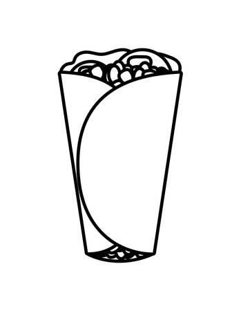 delicious burrito , typical Mexican food vector illustration design Stock Illustratie