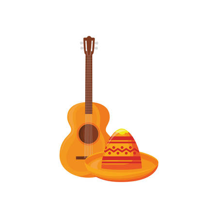 guitar and mexican hat in white background vector illustration design