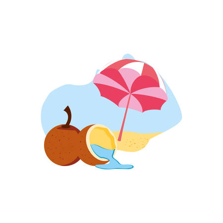 fresh coconut with half fruit in the beach and umbrella vector illustration design