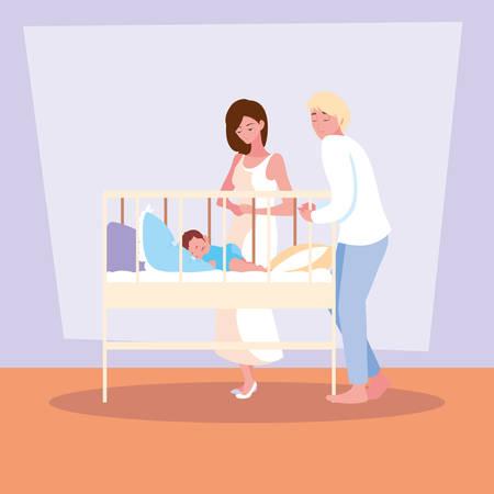 parents observing of baby boy sleeping vector illustration design