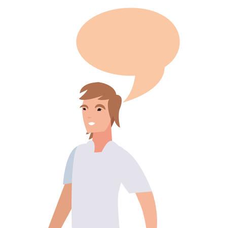 man character male talk bubble vector illustration