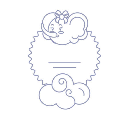 card with head of female elephant baby and cloud vector illustration design Foto de archivo - 133652140