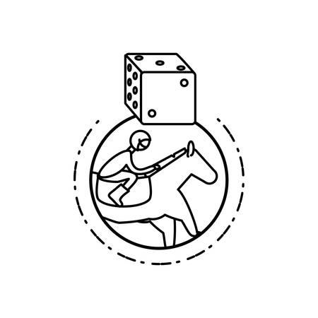 horse with jockey racecourse and dice vector illustration design Foto de archivo - 133898161