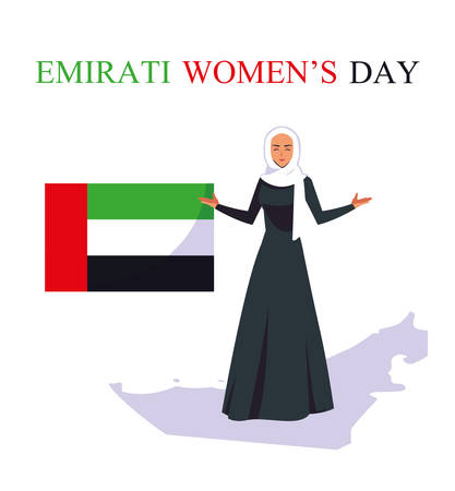 emirati women day poster with flag and woman vector illustration design