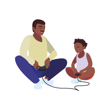 afro father playing video game with son characters vector illustration design Vectores