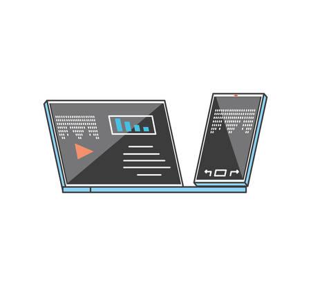 laptop computer with smartphone technology vector illustration design Illusztráció
