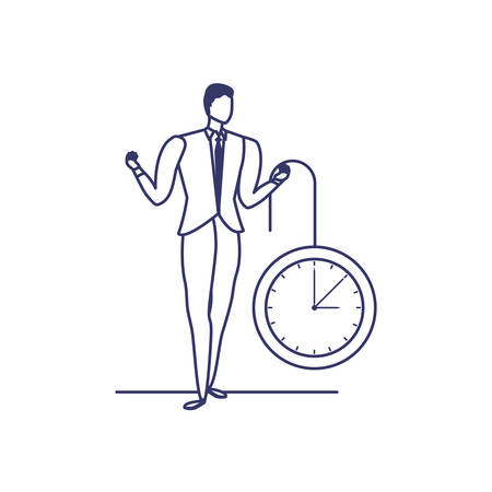 silhouette of man with clock in white background vector illustration design
