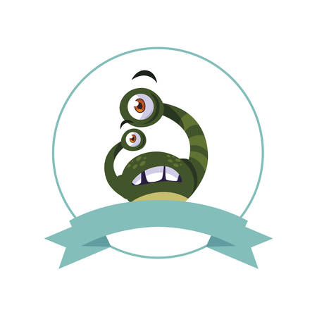 circular frame with monster and bulging eyes comic character vector illustration