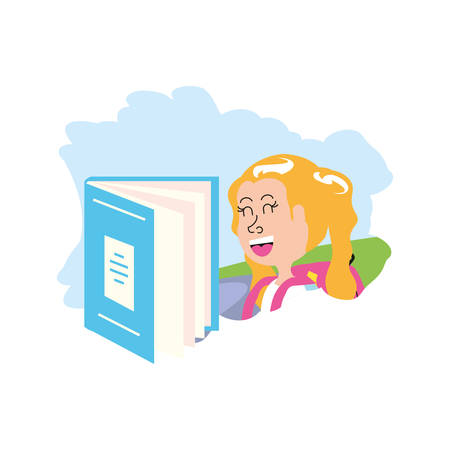 cute little student girl with book closed vector illustration design