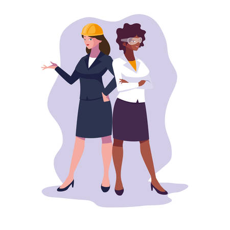 Women engineer design, Worker profession industry construction technology and occupation theme Vector illustration Illusztráció