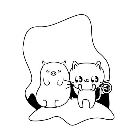 cute cat with piggy baby animals vector illustration design