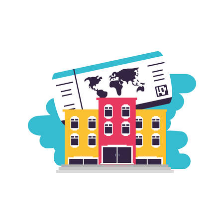 hotel building place with ticket travel vector illustration design