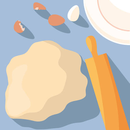 eggs and flour pastry ingredients vector illustration design