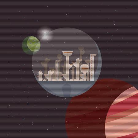 futuristic city outer planets rocket exploration vector illustration Ilustrace