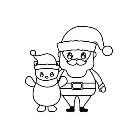 santa claus and polar bear on white background vector illustration design