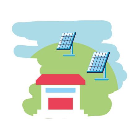house facade building with solar panels energy vector illustration design Illusztráció