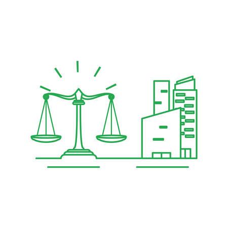 facade buildings urban with justice balance vector illustration design