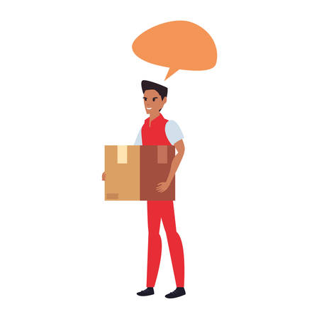 man employee package talk bubble fast delivery vector illustration