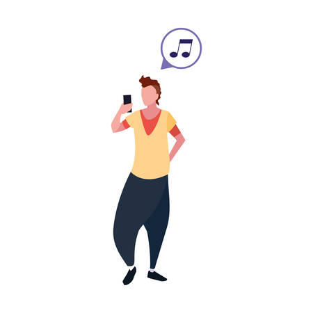 young man using smartphone social media vector illustration Banque d'images - 133850249