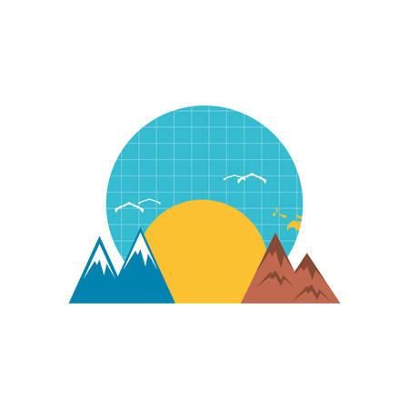 sun with mountains scene nature vector illustration design Çizim