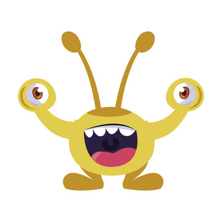 funny monster with bulging eyes comic character vector illustration design  イラスト・ベクター素材