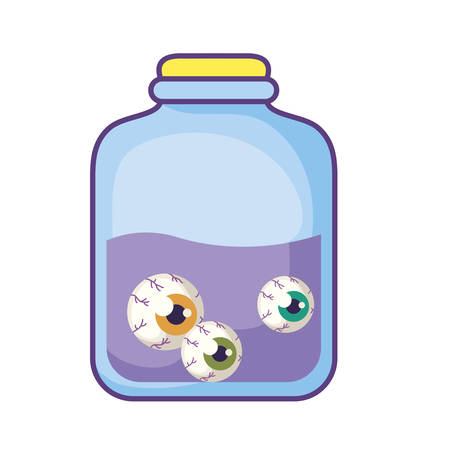 jar with eyes scary on white background vector illustration design