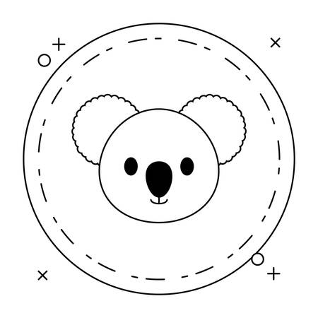 head of cute little koala baby in frame circular vector illustration design
