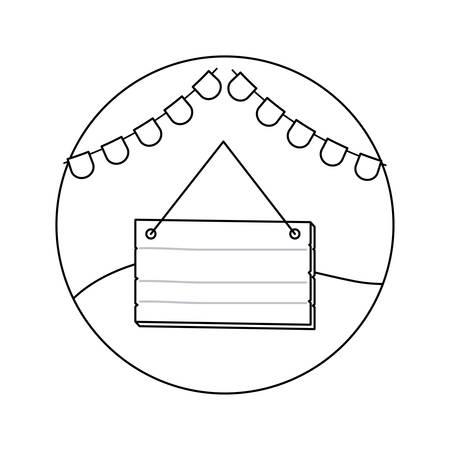 wooden label hanging with garlands in frame circular vector illustration design Ilustrace