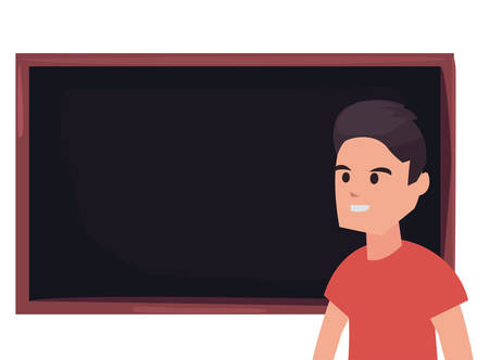 boy with blackboard back to school vector illustration