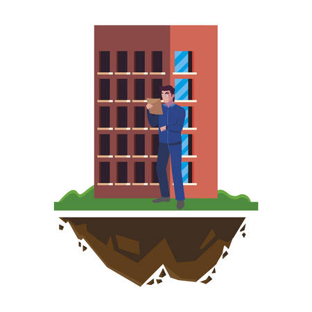 logistic worker with building character vector illustration design