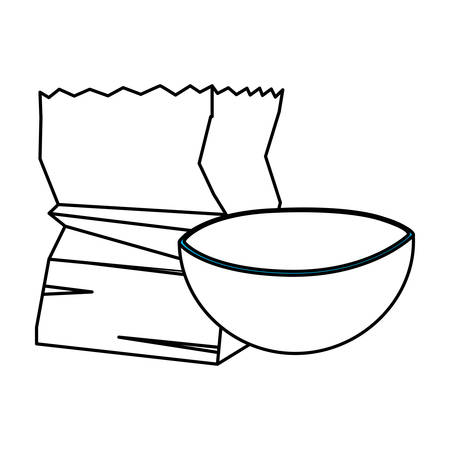 bowl and paper bag design, Kitchen supply domestic household tool cooking and restaurant theme Vector illustration
