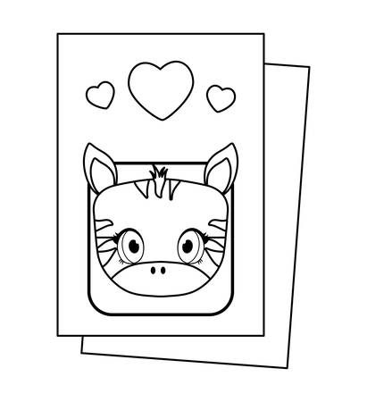 head of cute zebra in card baby   vector illustration design