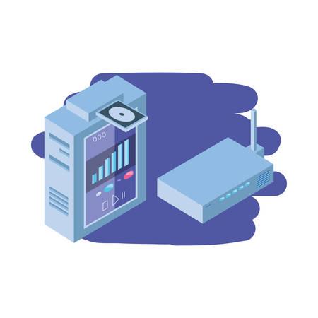 server equipment on white background vector illustration design
