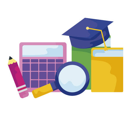 library books with hat graduation and set supplies vector illustration design Stock fotó - 133711784