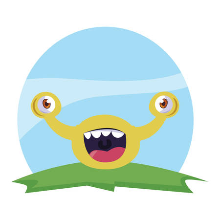 funny monster with bulging eyes in the field vector illustration design
