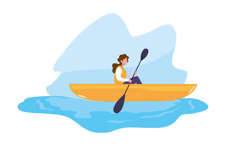 woman with boat and adventure rowing vector illustration Stock Illustratie
