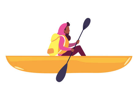 woman with boat and adventure rowing vector illustration Ilustração