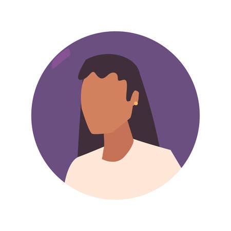 Ilustración de vector de diseño de retrato de personaje femenino de mujer