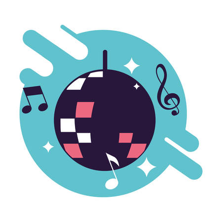 banner with ball mirror of disco vector illustration design