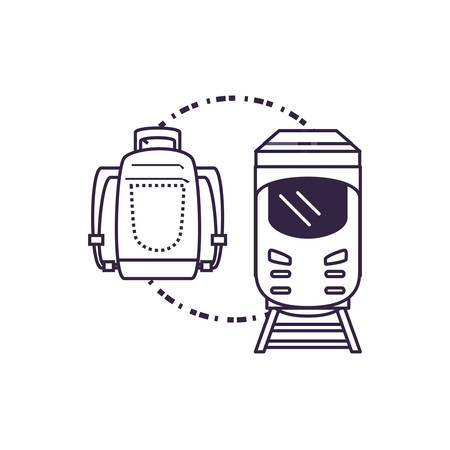 train travel vehicle with travelbag vector illustration design