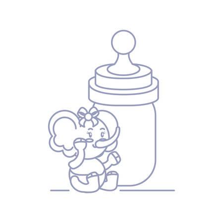 cute female elephant baby and bottle milk vector illustration design