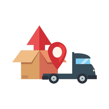 truck location pointer fast delivery vector illustration 일러스트