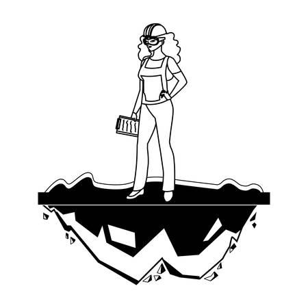 female builder construction on the lawn vector illustration design