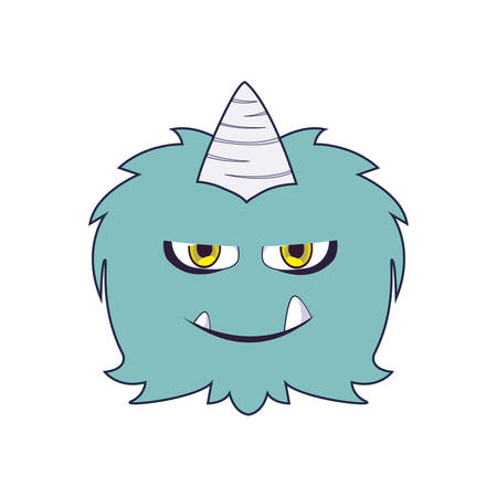 funny monster with horn comic character vector illustration design  イラスト・ベクター素材