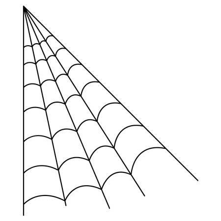 drawing of scary spider web on white background vector illustration design