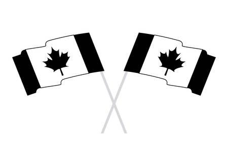 flags of canada patriotic in stick crossed vector illustration design