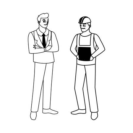 builder constructor with engineer characters vector illustration design Ilustracje wektorowe