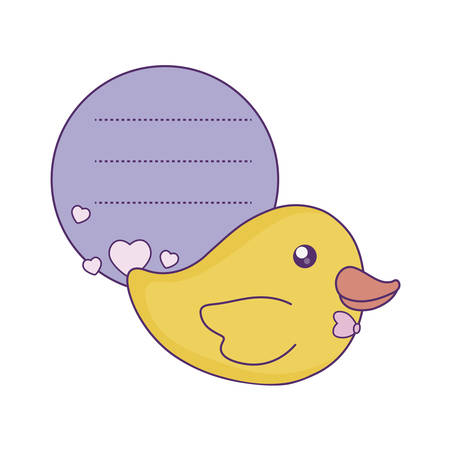 duck plastic toy in card vector illustration design