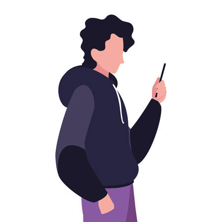 young man using smartphone social media vector illustration