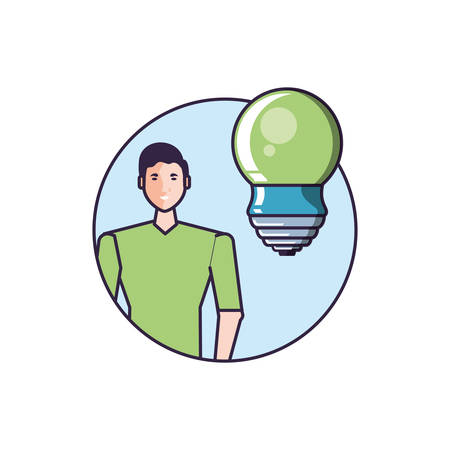 saving bulb electric with young man vector illustration design
